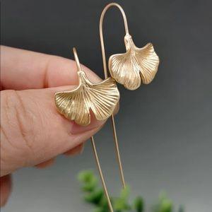 Gold Ginko Leaf long Drop Earrings